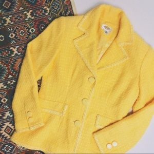 Talbots • vintage bright yellow tweed blazer